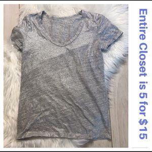 J. Crew Vintage Cotton Gray Shimmer Tee T-shirt